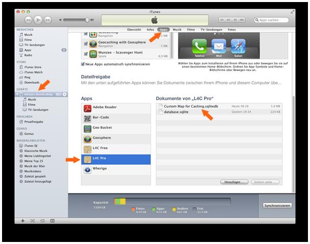 Offline Karte mit iTunes kopieren