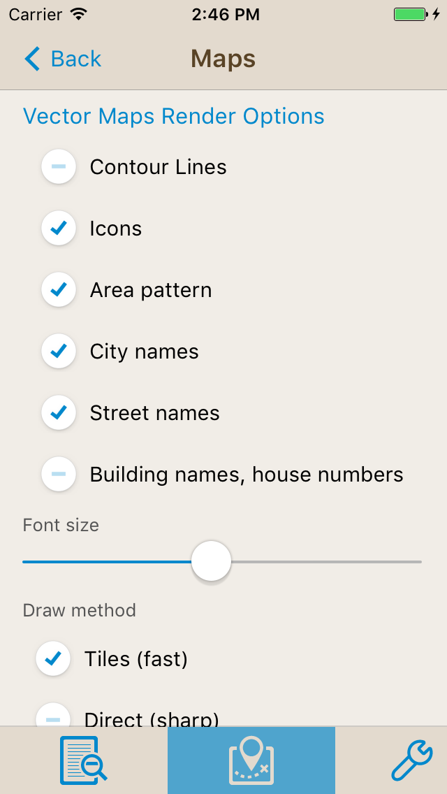 New offline Maps - Settings